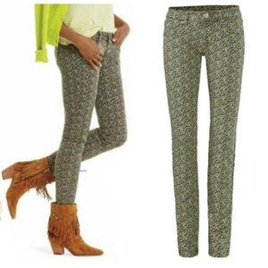 CAbi 5083 Green Ditsy Floral Print Skinny Jeans 4
